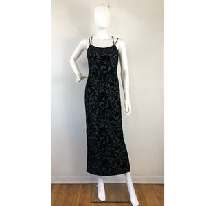 Vintage Dress Size XS 1970s Black Crushed Velvet